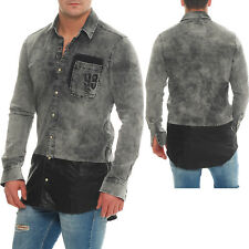 Redbridge Herren Jeanshemd Denim Shirt Oversize stone washed grau M5010