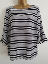 NEW Ex M&Co 10-18 Striped Fluted Sleeve Monochrome Black White Top Blouse Tunic
