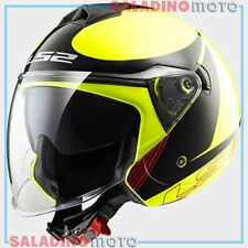 CASCO JET SCOOTER LS2 OF573 TWISTER PLANE GIALLO FLUO NERO ROSSO