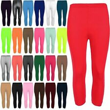 Womens Three Quarter Jersey Plain Leggings Workout Pants Ladies Gym Fitness