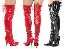 New Womens Ladies Mens Thigh High Over Knee Lace Up Boots Stiletto Heel Siz 4-12