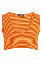 New Womens Ladies Sleeveless Rihanna Stripes Vest Blouse Bralet Strappy Crop Top