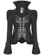 PUNK RAVE DONNA GOTHIC Giacca Militare in finta pelle nera Steampunk DYSTOPIAN