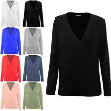 Ladies Womens Long Sleeve Tunic Baggy Deep V Neck Front Wrap Over Stretchy Top