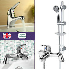 STUDIO BATHROOM CHROME SQUARE BASIN MIXER BATH FILLER SLIDER RAIL SHOWER TAP