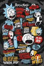 Rick and Morty - Quotes - Black - Poster Plakat Druck - Größe 61x91,5 cm