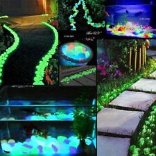 1-100pcs Glow in the Dark Pebbles Stone Home Garden Walkway Aquarium Fish Tank