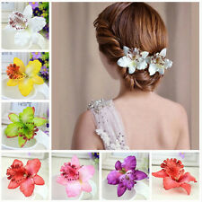 2 x Bridal Wedding Orchid Flower Hair Clip Barrette Women Girls Accessories ME