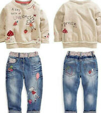 2pcs Fashion lovely Kids Baby Girls Toddler tops + Denim pants Clothes Outfits