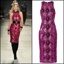 BNWT BALMAIN x H&M Pink Fitted Beads Sequins Rhinestones Quilted Long Dress