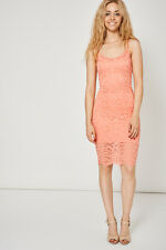 Casual Coral Lace Spaghetti Strap Evening Party Bodycon Women's Spring Dress  UK