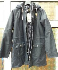 BNWT Womens Barbour Seaton Wax Parka Jacket Navy Blue UK12 rrp£249
