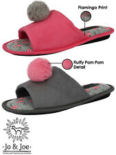 Ladies Open Toe Slippers Faux Suede Pom Pom Slip On Mules Slider Shoes Size UK