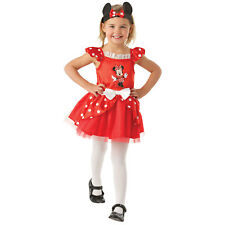 Childs Disney Red Minnie Mouse Ballerina Micky Girls Fancy Dress Costume 881871