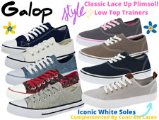 Ladies Girls Kids Canvas Low Top Lace up Pumps Plimsoll Casual Sneakers Trainers
