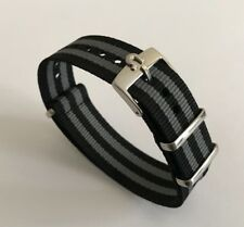 Omega Custom James Bond Black Grey Watch Strap Steel Buckle Tang Nato 18-20mm