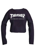 Thrasher SKATEBOARD MAGAZINE Pullover Crop Top Blouse casual tee Best Quality