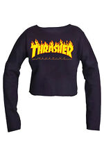Thrasher Flame SKATEBOARD MAGAZINE Pullover Crop Top Blouse casual Best Quality