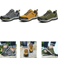 Mens Breathable Running Shoes Outdoor Leather Hiking Mountain Anti-slip Sneakers