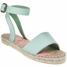 New Womens Superdry Green Sofia Espadrille Leather Sandals Espadrilles Buckle