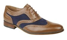 Goor Shoes Leather Lined 5 Eyelet Gatsby Oxford Brogues M968BAX - Tan & Navy