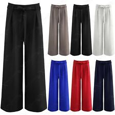 LADIES WIDE LEG PALAZZO LOOK TROUSERS WOMENS FLARED TIE BELT TAILORED LONG PANTS