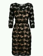 BNWT New MARKS & SPENCER Per Una Black Gold Lace Cornelli Midi Dress 12 14 £75