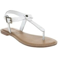 New Womens Superdry White Bondi Leather Sandals Flats Buckle Straps