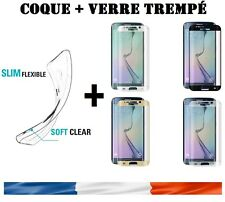 Coque +film Protection en verre trempé Samsung Galaxy S6 S7 S8 Edge Plus S9