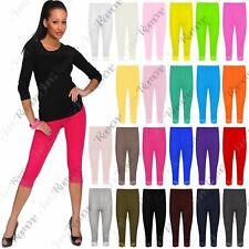 New Womens Lace Trim 3/4 Plain Leggings Active Cropped Yoga Basic Capri Pants