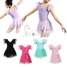 Girls Gymnastics Dancing Dress Kid Ballet Tutu Dance Wear Leotard Skirt Costume