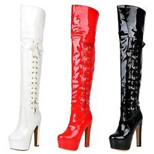 Crossdresser Patent Vintage Lace Up Shoes Cross Play High Heels Boots UK 1.5-8