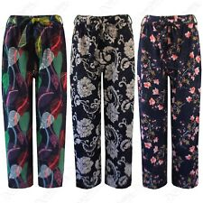 NEW LADIES FLORAL PRINT CULOTTES BELTED WOMENS FLARED CROP TROUSERS 3/4 PANTS