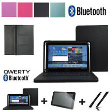 """3 IN 1 SET QWERTY Bluetooth Keyboard Case Cover For 10"""" Universal Bookstyle"""