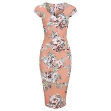 1940s Cap Sleeve Peach Floral Pin Up Wiggle Bodycon Dress