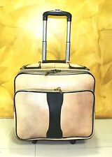 Real Leather Laptop bag New Cabin size Overnight Trolley Wheel Spinner Crocodile