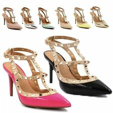 WOMENS LADIES HIGH HEELS STUDDED STILETTO TBAR POINTED COURT ANKLE SHOES SANDALS