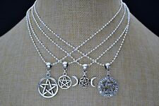 PENTAGRAM STAR SP BALL CHAIN NECKLACE, Choose Size & Pentacle Charm, Handmade UK