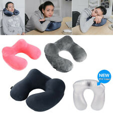 U-shaped Inflatable Neck Pillow Airplane Support Head Neck Rest Travel Cushion