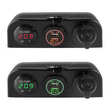 3in1 Dual USB Port Charger Digital Voltmeter Car Cigarette Lighter Socket Panel