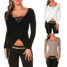 PULL SEXY FEMME AVEC DENTELLE COL EN V STYLE CACHE-COEUR NEUF Taille 34 36 38 TU