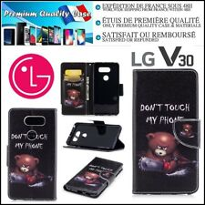 Etui Coque Housse Porte-Cartes Cuir PU Leather Stand Wallet Case Cover LG V30