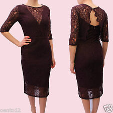NEXT Premium Berry Aubergine Vintage Inspired Lace Open Back Cocktail Dress