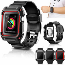 Rugged Silicone Sport Wrist Band Strap + Frame Case For Apple Watch 38/42mm