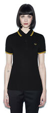 Fred Perry Twin Tipped Polo Shirt - Womens - Black and Yellow - 8 S 10 M 12 L