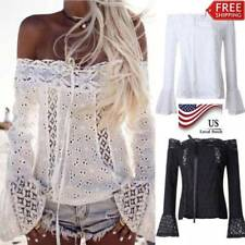 Women's Summer Fashion Off Shoulder Shirt Long Sleeve Casual Blouse Lace Up Tops