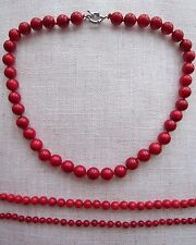 Genuine 100%, Red Coral Gem-stones Bead Necklace - Various Size Coral 5 - 11 mm.