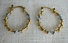 14K Yellow & White Gold Filled Twisted Stud Hoop Earrings - NEW.