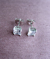 White or Yellow Gold Filled Stud Earrings with C Z Crystal - Unisex. NEW.