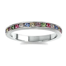 925 Sterling Silver Channel Set Rainbow Multi Color CZ Stackable Ring 3MM